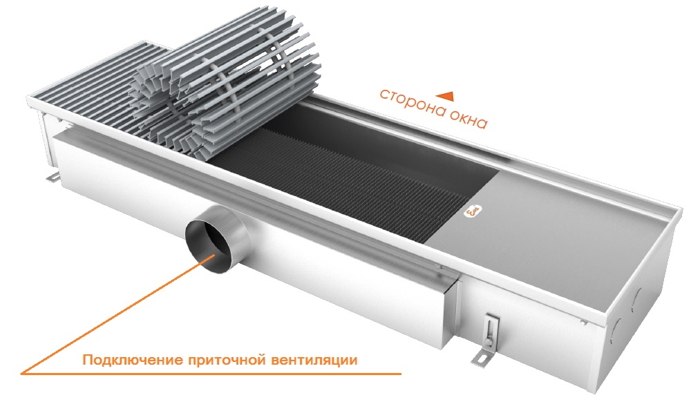 Конвектор Eva для подключения к приточной вентиляции